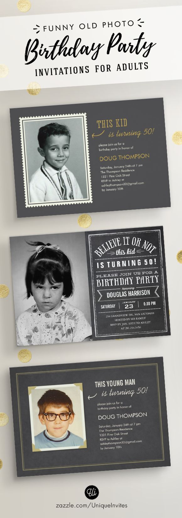 Funny Old Photo Birthday Party Invitations for Adults