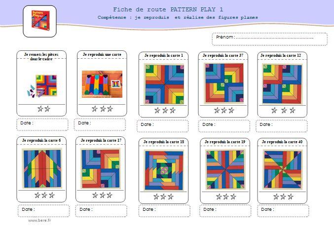 """pour travailler la compétence """"reproduire une figure plane"""" avec un magnifique jeu """"pattern play ..."""