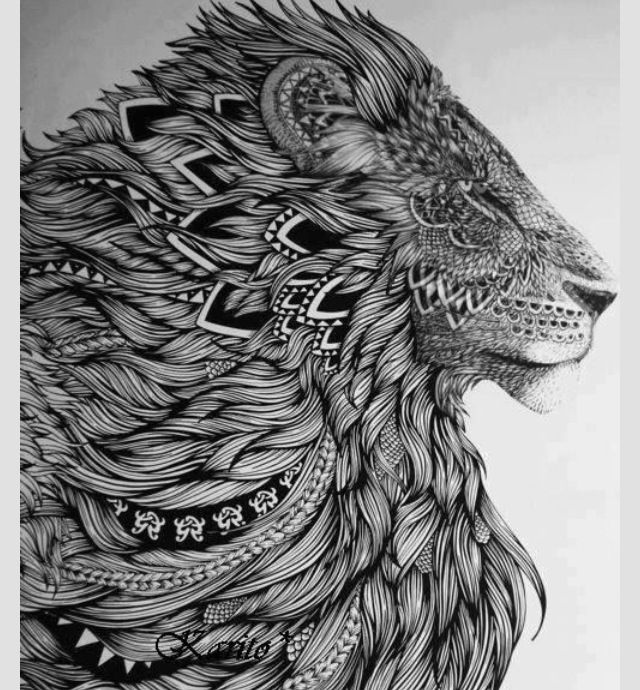 Lion Lion made of designs Intricate art #intricate Lion ...