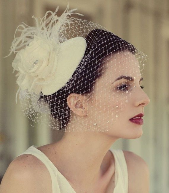 Sale, Weddings, Ivory Birdcage Veil, Feather Fascinator,  Flower Hat with Half Veil, Crystals, was 165 now 135  - Batcakes Couture via Etsy