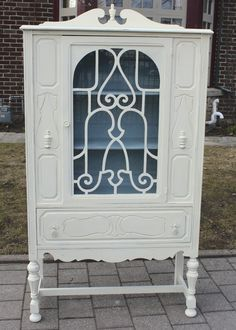 Painted Furniture - ASCP Old White China Cabinet with Custom mix of Louis Blue, Old White and Graphite for the Interior.  - New House New Home