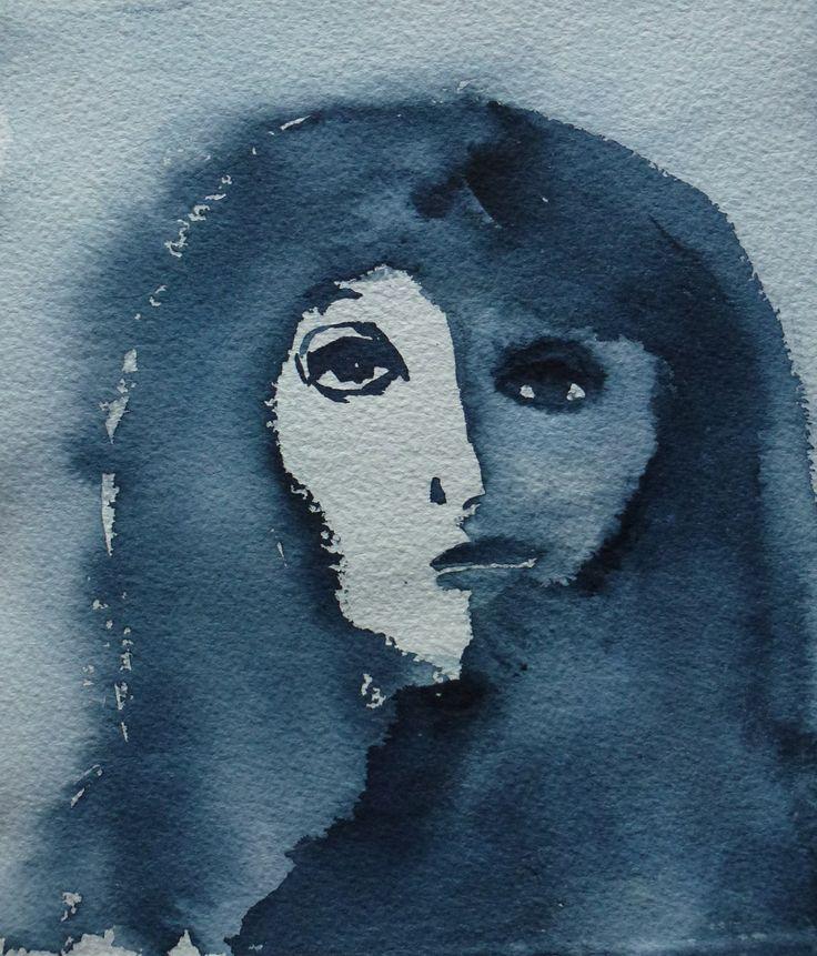"""""""Blue Lady"""" by Sirkkaliisa Virtanen, watercolor"""