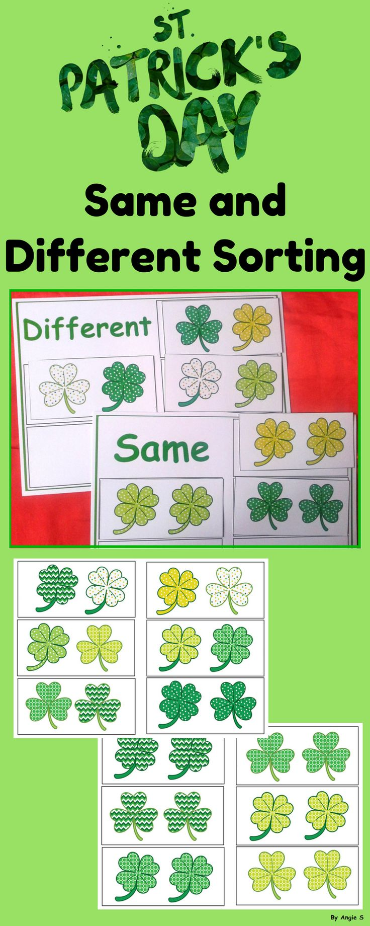 Saint Patrick`s Day Shamrocks Same and Different Sorting for Special Education, preschool and kindergarten students is a simple exercise to develop kids' discrimination ability. #saintpatricksday #spring #shamrock #sameanddifferent #tpt #teacherspayteachers #activity #kindergarten #preschool
