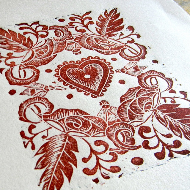 Decorative lino print by Mangle Prints, via Flickr