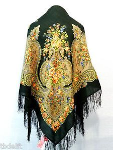 "XL Beautiful Original Pavlovo Posad (Pavloposad) Russian shawl with silk fringes.  Material: 100% wool New item with tags. Size:  49.2'' x 49.2'' / 125 cm x 125 cm (measured without fringes) Elaborate designer's shawl ""By the Fireplace"", created by the artist Clara Zinovyeva."
