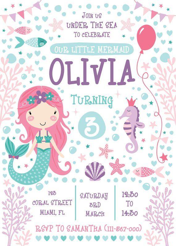 Mermaid Party Invitation Kids Birthday