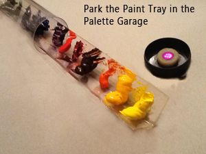 palette garage - what a genius concept for keeping your paints from drying out!