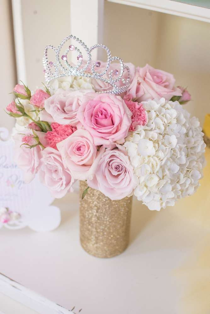 Beautiful floral display at a Disney princess birthday party! See more party ideas at CatchMyParty.com!