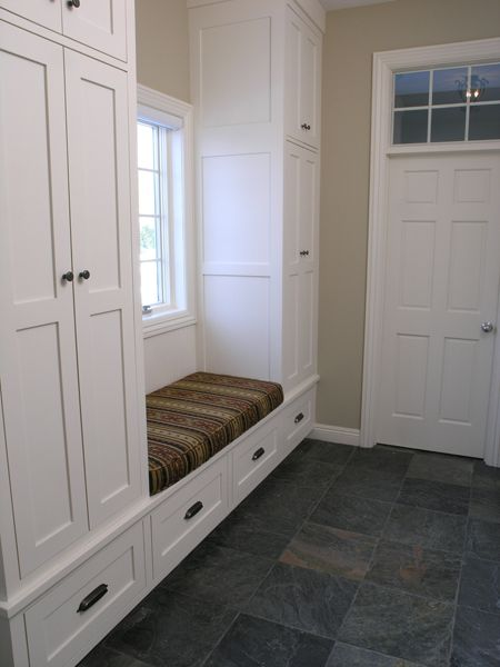 mudroom; this shows a coat closet, bench, shoe drawers and window so we could have them facing each other and windows on both sides