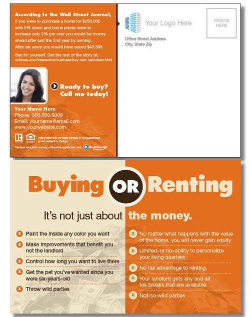 """Buy vs. Rent"" Postcard"