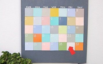 Creative Post-It Calendar Hanging On The Wall