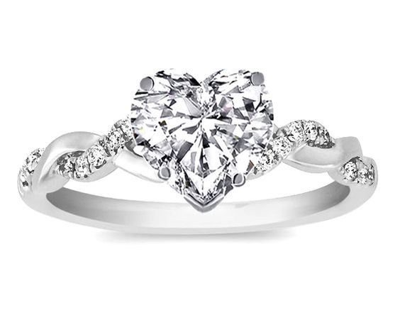 Heart Shaped Engagement Rings Designs | Ring – Heart Shape Diamond Petite twisted pave band Engagement Ring …