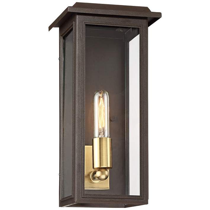 Emelita 15 1 2 High Bronze Box Outdoor Wall Light 34n18 Lamps Plus Outdoor Wall Lighting Wall Lights Brass Wall Light
