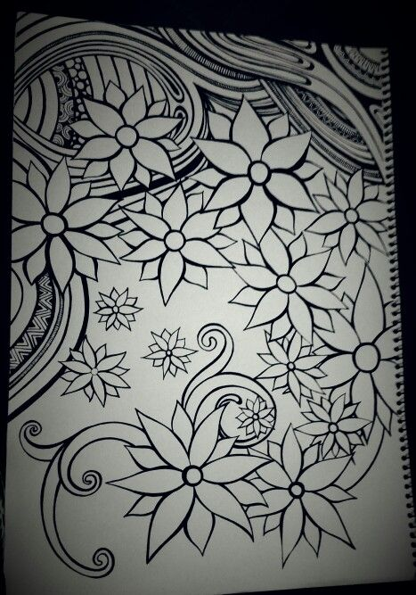 Zentangle Flowers. This is part tangled for something different.