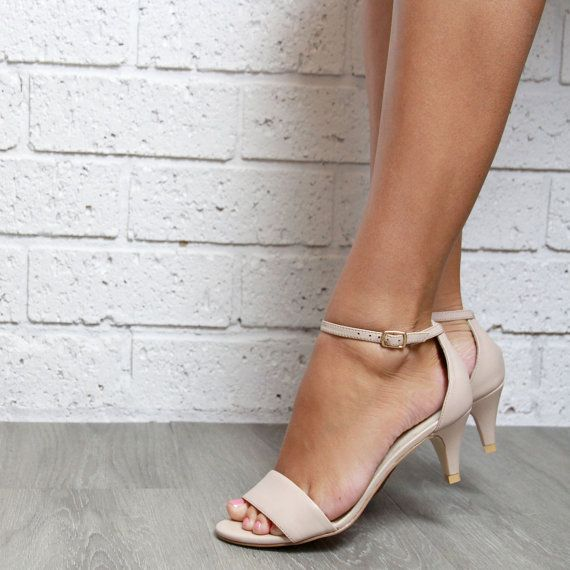 Nude leather Kitten Heel Ladies shoes. Low heels. Perfect party or wedding shoes: 'True Romance Kitten Heel Nude' SALE!