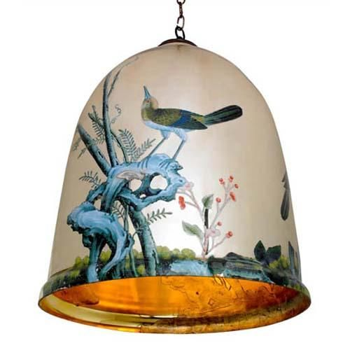 Classic images of nature on reverse mirror give this pendant style light its unique visual flair. Available in 3 sizes. Customization available.