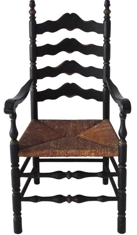 19th C Black Painted New England Ladderback Chair