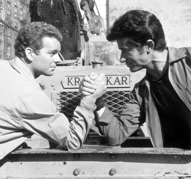 Russ Tamblyn and George Chakiris on the set of West Side Story. (Found on the movie's Facebook page.)
