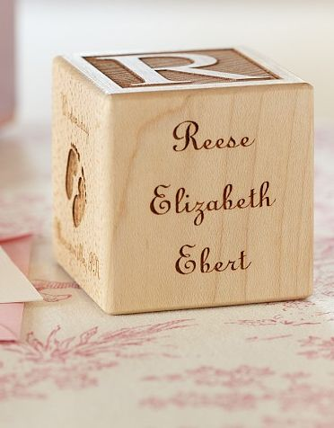 Great gift idea for a newborn - Block can be personalized with baby's name, name(s) of parent(s), date of birth, time of birth, weight, and length. http://rstyle.me/n/mzgivnyg6