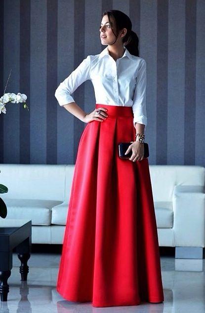 Festa | Longo | Camisa branca | Fashion Party de 2019 | Saias para casamento, Saias e Saias da moda