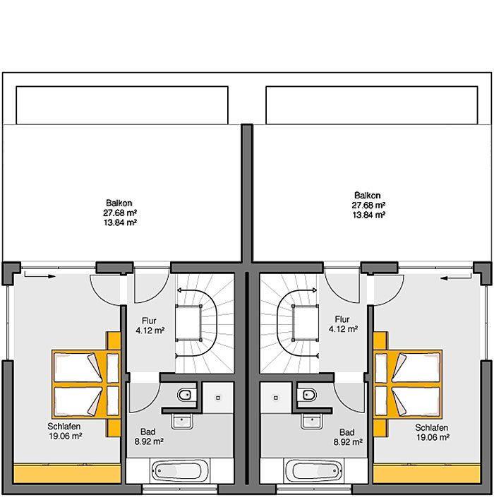 Fertighaus Doppelhaus Gemello FD 280 Grundriss OG 2