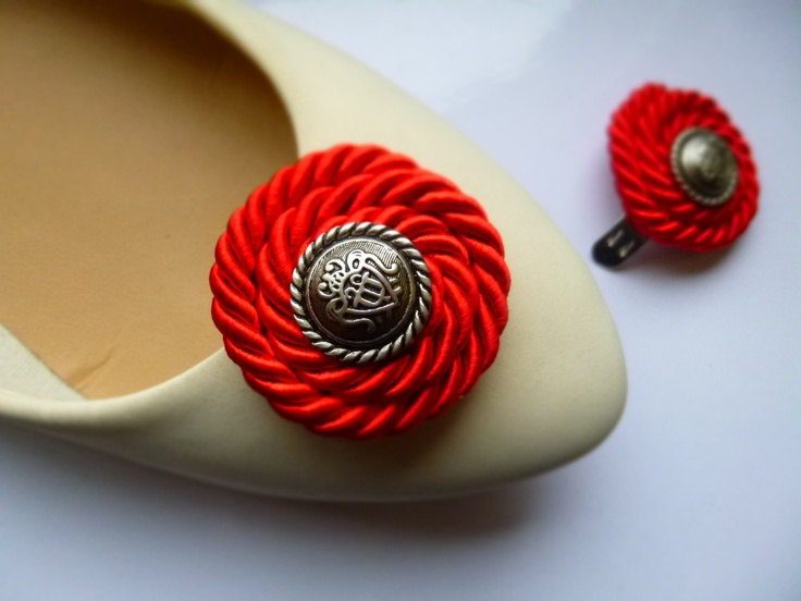twisted rope shoe clips with button  https://www.facebook.com/coquet.art