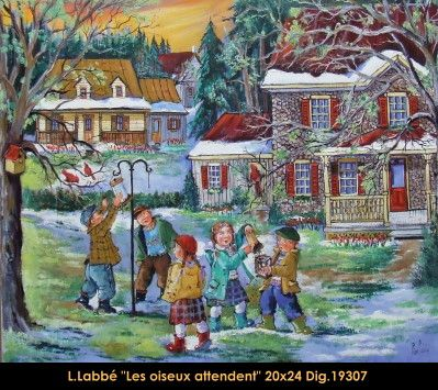 Original oil on canvas painting by Lise Labbé #labbe #art #artnaif #fineart #figurativeart #kidscharacters #spring #birdshouses #canadianartist #quebecartist #originalpainting #oilpainting #balcondart #multiartltee