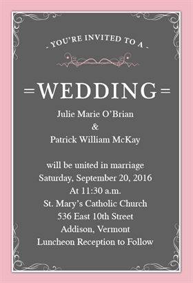 """""""Classic Wedding""""  printable invitation template. Customize, add text and photos. Print or download for free!"""