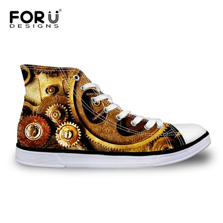 FORUDESIGNS Fashion Men High-Top Canvas Shoes Male Casual Vulcanized Shoes Cool Metal Gear Printed Leisure Lace-up Shoes for man #Affiliate