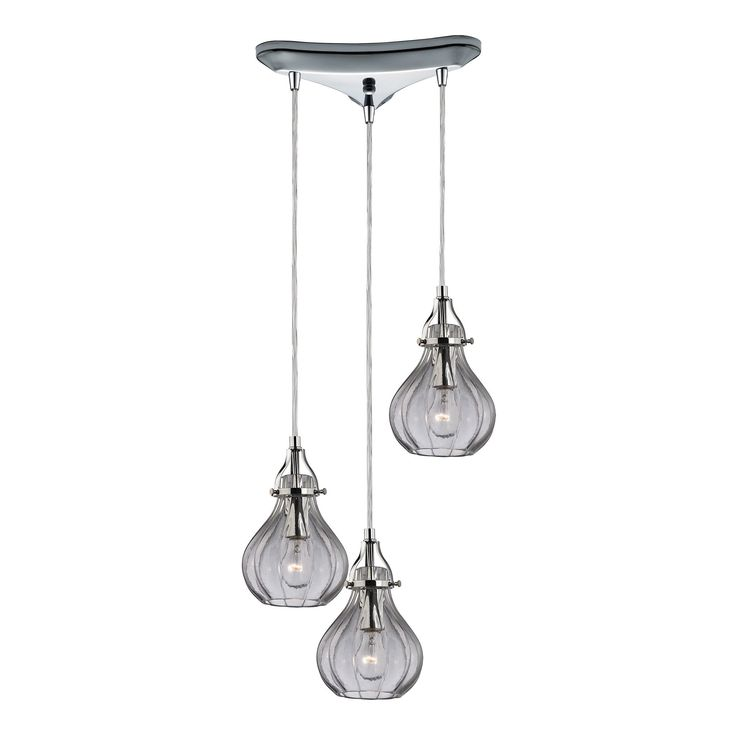 Your home or office will truly benefit from the contemporary elegance that this chrome chandelier exudes. The Danica light fixture offers a sleek and simple design with three unique bulb-shaped glass shades that will pair nicely with any style of decor.