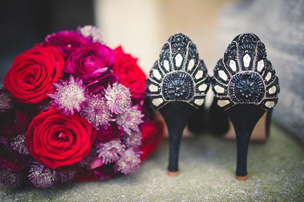 black beaded wedding shoes // photo by Babb Photo // http://ruffledblog.com/ee-cummings-inspired-halloween-shoot