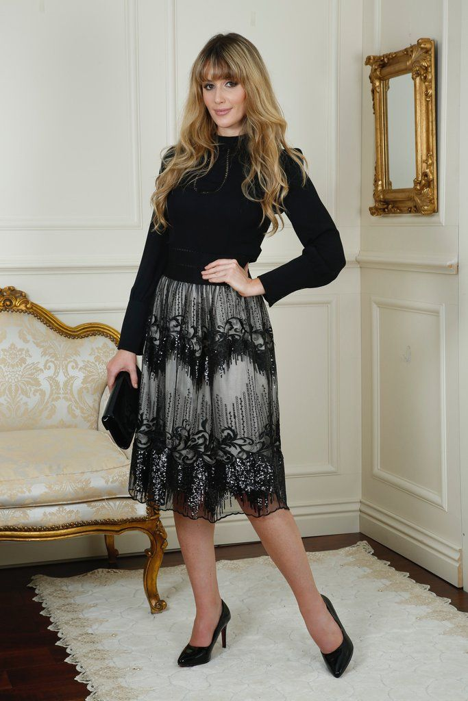 Carrie Black and Lace Embellished Detail Skirt