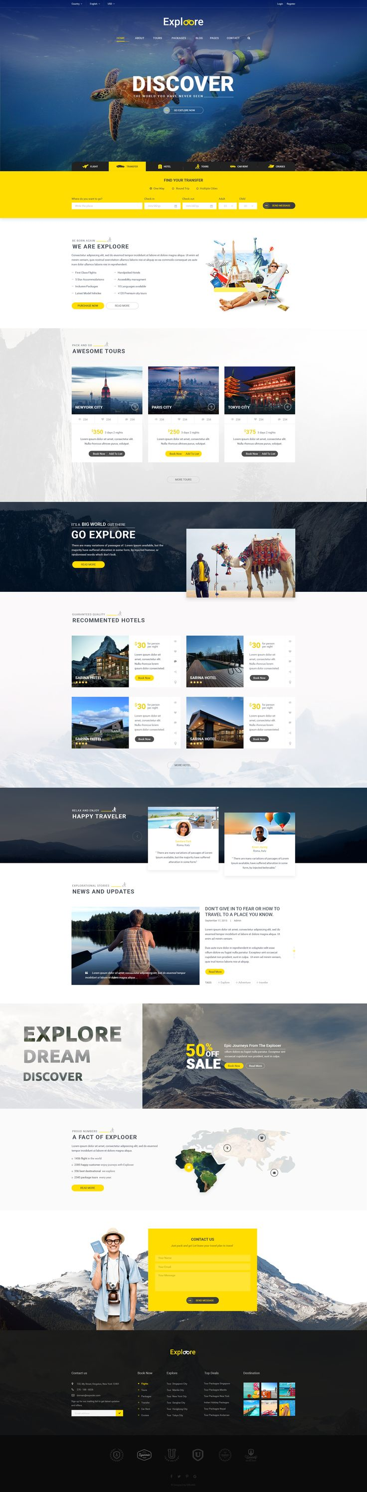 여행, 예약 홈페이지//Introduction Exploore is modern PSD template has been designed for travel website, travel agency, travel blog, etc… It comes with 15 PSD files and a potential to grow with more features in the futu...