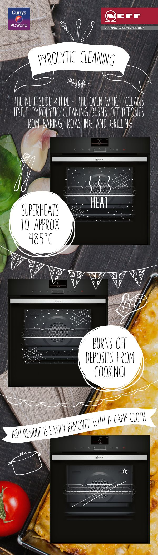 Say hello to self-cleaning ovens. The Pyrolytic Cleaning function in the Neff Slide & Hide is perfect for your post-bake wipe down! @biybyneff