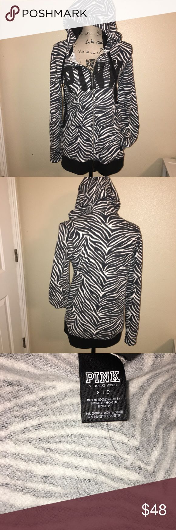 Victoria's Secret Pink Zebra Full Zip Size S. Does have a loose fit. Worn twice. Excellent condition. I still ❤ this sweater!! PINK Victoria's Secret Other