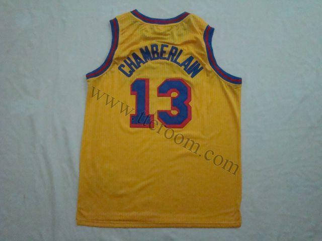 new concept cf5be 771c7 Golden State Warriors #13 Wilt Chamberlain Gold Hardwood ...