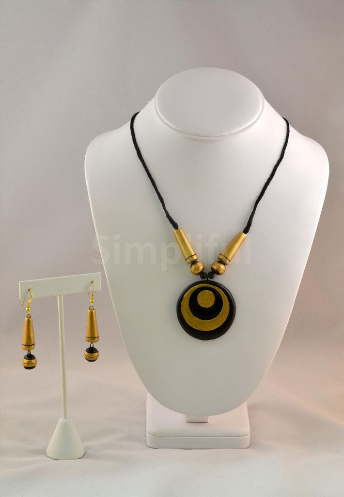 Terracotta Vintage Circles Necklace and Earring set