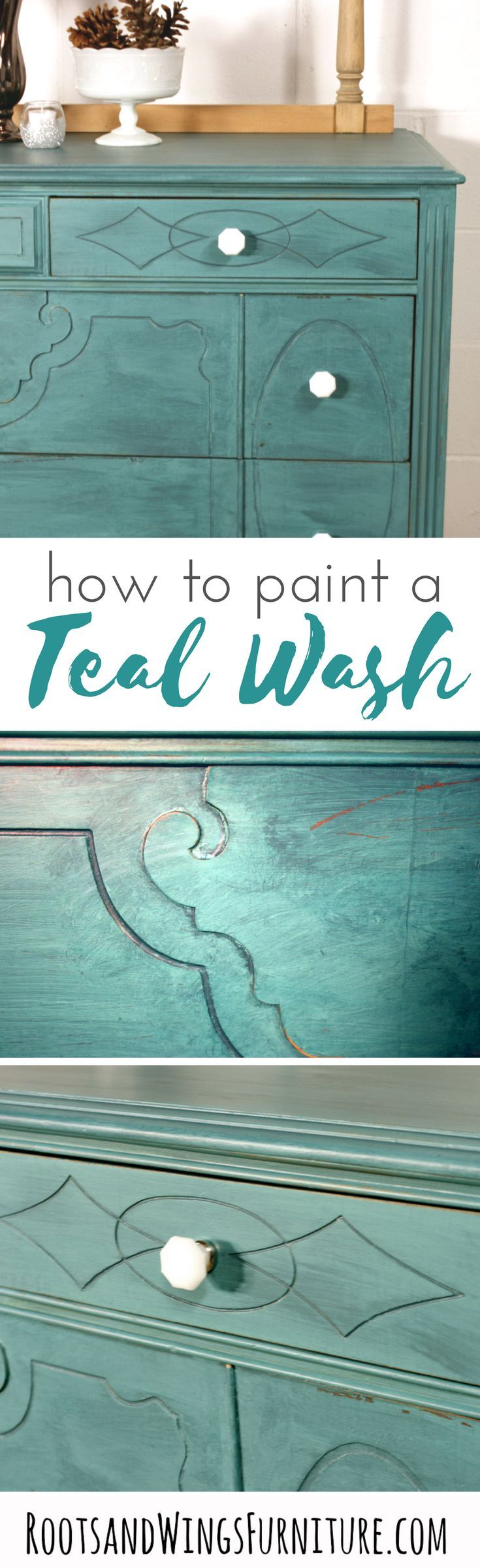 Furniture painting ideas techniques - Color Washed Teal Dresser Paint Furniturefurniture Refinishingfurniture Makeoverfurniture Ideaspaint Techniques