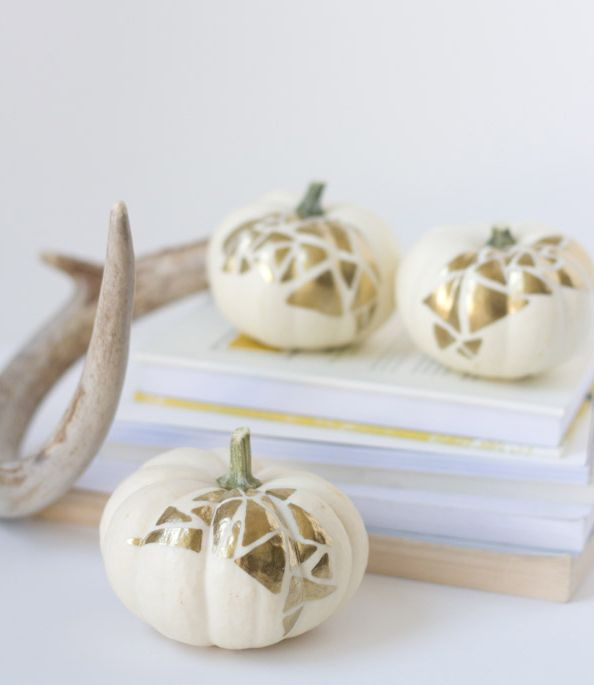Fall Decor Crafts for Halloween or Thanksgiving - no carve geo pumpkins from Lovely Indeed