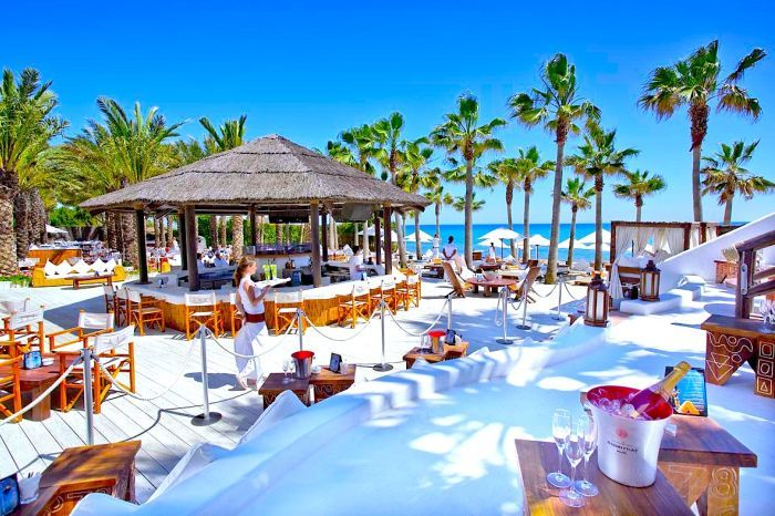 Nikki Beach, Miami, FL, USA. Beach front restaurant and club.
