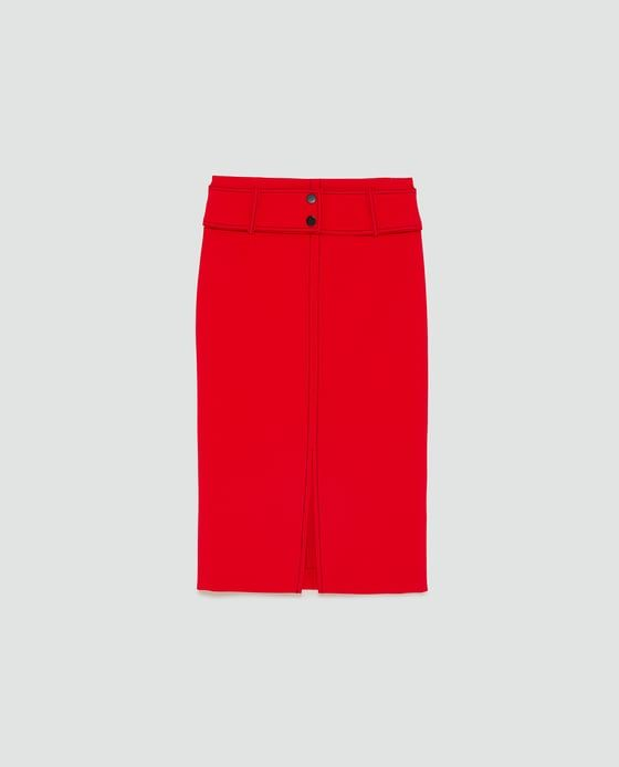 Image 8 of TOPSTITCHED PENCIL SKIRT from Zara