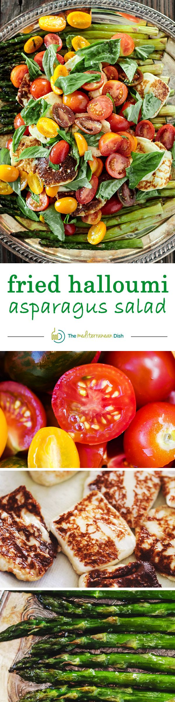 Fried halloumi and asparagus salad from The Mediterranean Dish. Roasted asparagus makes a perfect bed for fried halloumi cheese, tomatoes and basil w/ a light sherry vinaigrette!