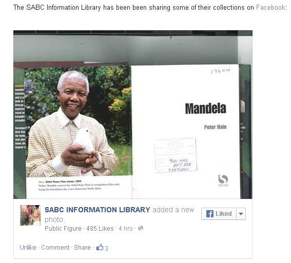 Mandela Day 2014 in the SABC Media Libraries - SABC Information Library sharing some of their book collections on Facebook #MandelaDay #libraries