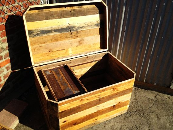 Rugged Ranch Chest: Rugged Style Handmade Pallet Wood Chest with sliding shelf and a Mix of Natural Colors. Awesome piece.