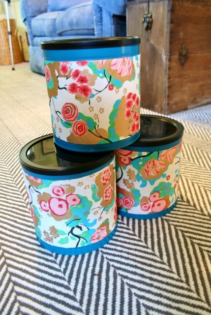 Introducing your pretty new storage containers, upcycled from coffee cans.