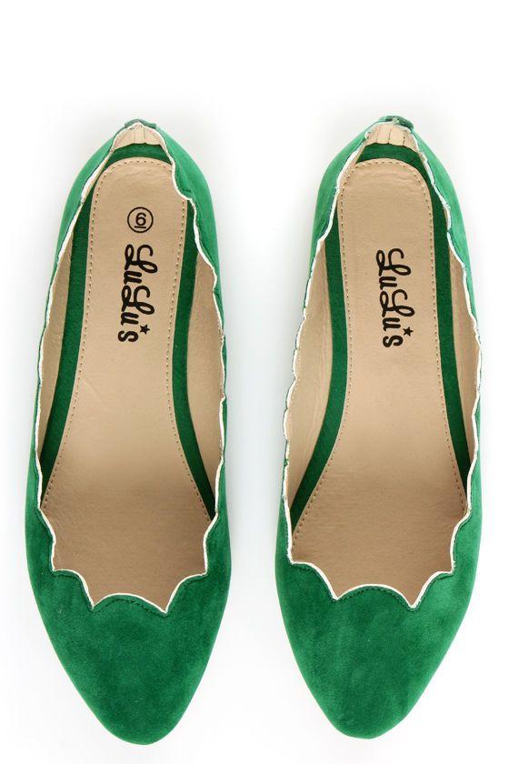 LuLu*s Scallopini Green Scalloped & Pointed Flats - $19.00