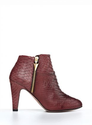 Young British Designers: Rex Burgundy Python Ankle Boot by FURY by FURY - The coolest new ankle boot on the block. Gorgeous go with everything burgundy leather. FURY have cut these boots to absolute perfection. They fit your ankles so very sexily and prove that mid height can be so very perfect for a busy life.