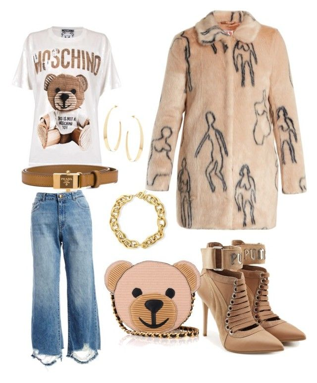 Untitled #697 by cathatin on Polyvore featuring polyvore, fashion, style, Moschino, Shrimps, DL1961 Premium Denim, Puma, Lana, BERRICLE, Prada and clothing