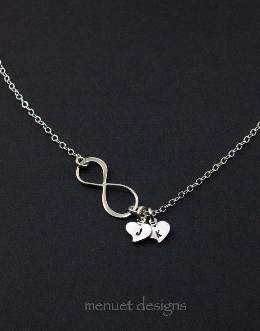 10% Sale - Silver Infinity Necklace.Initial Heart.Personalized Necklace.Best Friend,Pendant, Wife, Girlfriend,Mother.