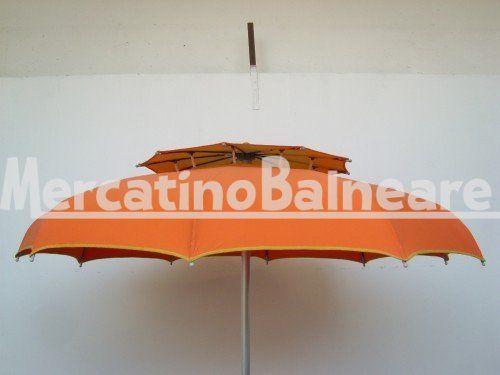 OMBRELLONI DOPPIO TETTO CON STECCA CURVA Q.TA' 23 EURO 50.00 - Mercatino Balneare ombrelloni doppio tetto con stecca curva 110 diam 200 prestige palo alluminio baionetta  tessuto tempotest in discrete condizioni    (2 di essi con buchetti sul tetto) colore arancio con tetto giallo prezzo cadauno i.v.a. e trasporto esclusi Quantità:23 Prezzo €50.00+iva  http://www.mercatinobalneare.it/annuncio/ombrelloni-doppio-tetto-con-stecca-curva-q-ta-23-euro-50-00/  #stabilimen